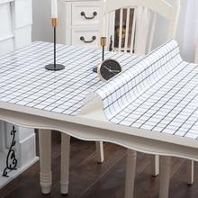 Imitation marble wood grain lattice PVC table cloth Soft glass plastic waterproof oilproof coffee mat Heat resistant pad