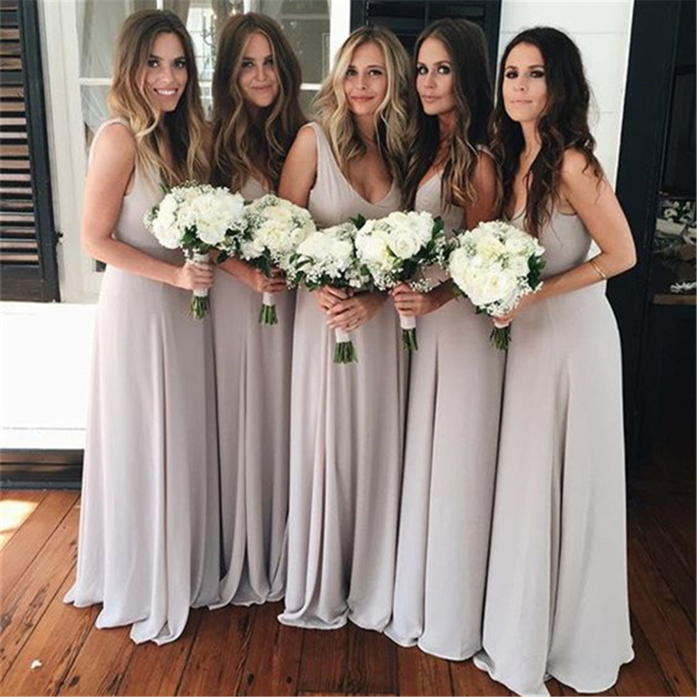 Simple Long   Bridesmaid     Dresses   V Neck A Line Floor Length Elastic Satin Cheap Wedding Party   Dress   2019 New Maid Of Honor Gowns