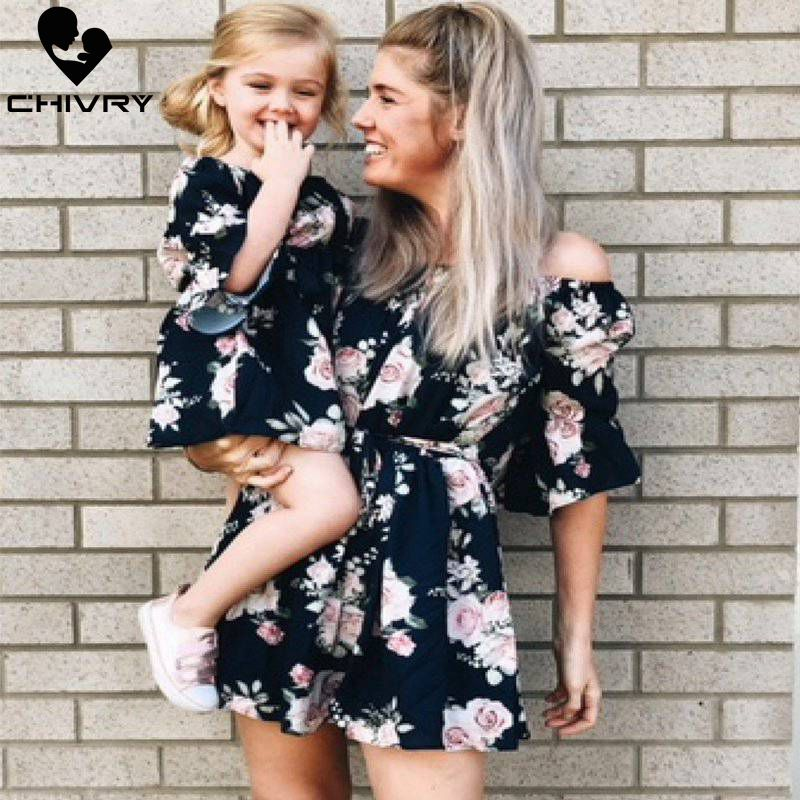 Chivry 2019 New Mother Daughter Dresses Slash Neck Ruffles Floral Long Dress Mom And Daughter Dress Family Matching Clothes
