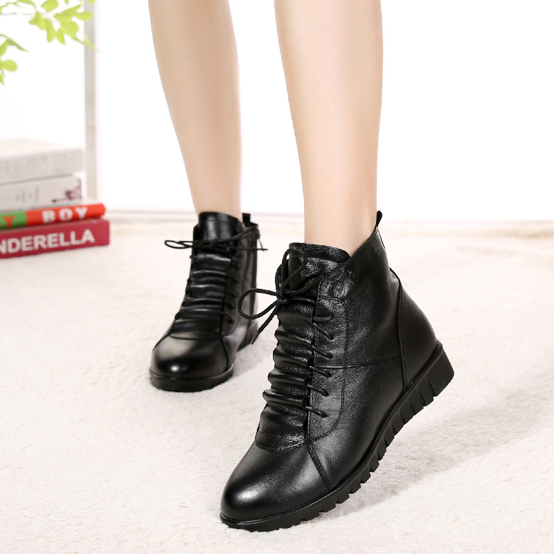 Winter mother cotton shoes plus velvet warm boots women winter boots snow boots genuine leather flat antislip women winter shoes