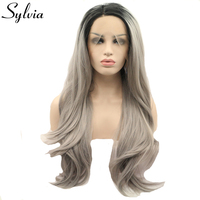 Sylvia black/grey two tone ombre natural straight synthetic lace front wigs silver grey wig with dark roots heat resistant fiber