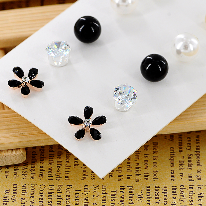 New Little Black Flower Stud Earrings Set For Women Small Simulated Pearl Ziron Alloy Ball Ear Cuff Fashion Jewelry 6 Pairs In From