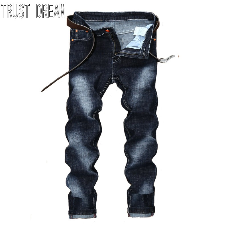 TRUST DREAM Europeans Fashion Men Slim StoneWashed Solid Jean Man Casual Street Pant Personal Man Leisure Jeans l jean camp trust