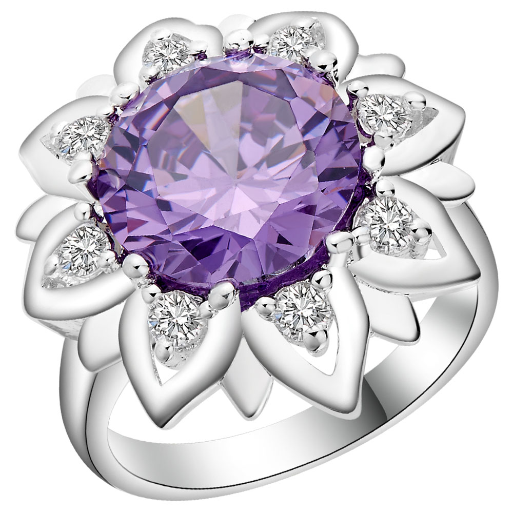 2016 Cheap Silver Rings For Wedding Flower Sun Engagement Gift Paved Cz Nice  Big Jewellery Wholesale