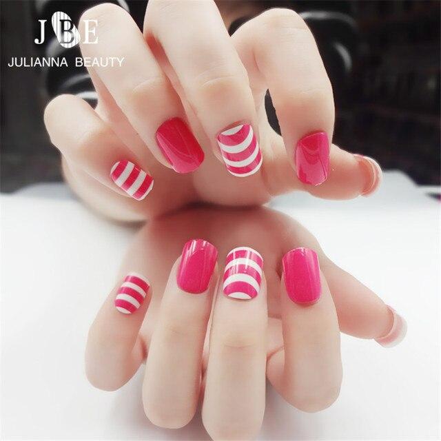 24pcs Pink Stripe Fake Nails French False Nails Beautiful Uv Gel