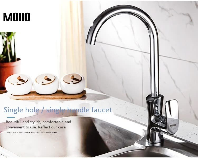MOIIO Kitchen Faucet Bright Poloshed Stainless steel kitchen sink faucet Hot and cold mixing Taps 360 rotating Single Handle in Kitchen Faucets from Home Improvement