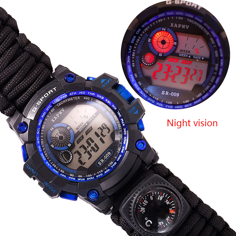 Survive Outdoor Watch Emergency with Night Vision 50M Waterproof Paracord Knife Compass Thermometer Whistles First Aid Kits (2)
