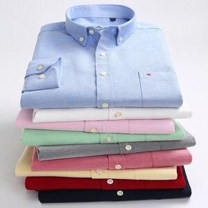 Image 4 - قميص رجالي أكسفورد جديد للربيع والخريف بأكمام طويلة من القطن غير رسمي قميص منقوش متين 5XL 6XL مقاس كبير