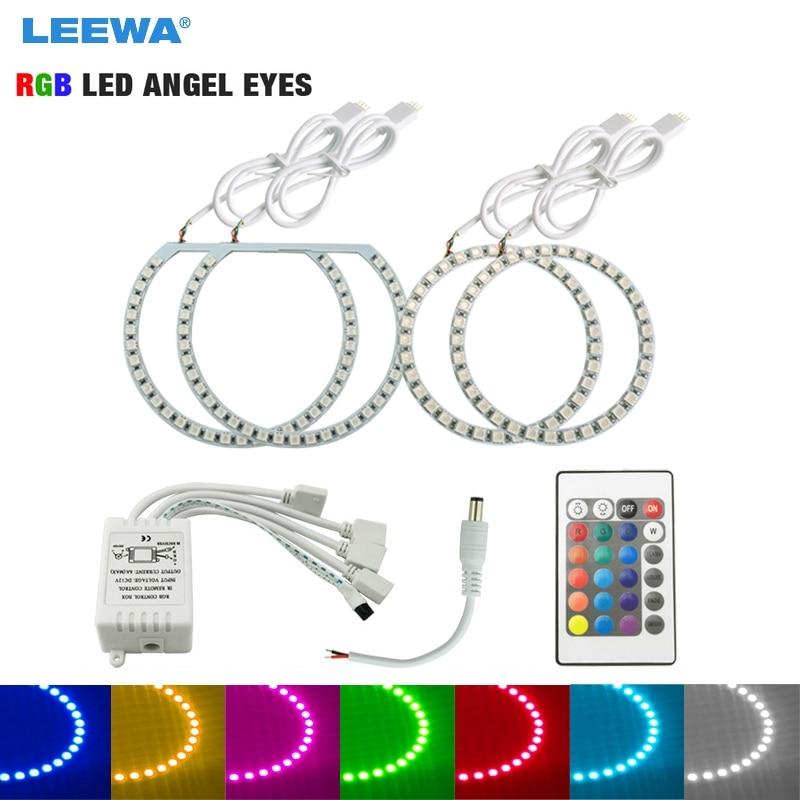 LEEWA 2X131mm 2X100mm Car RGB Multi-Color LED Angel Eyes Halo Ring Lighting Kit Remote Control For Ford Focus Headlight #CA3663