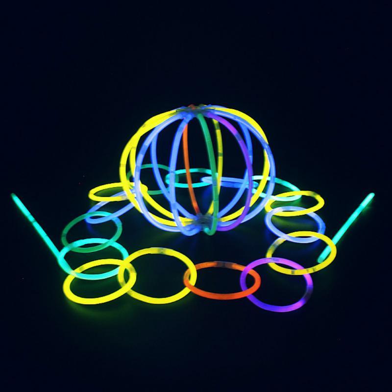 100pcs/lot Christmas Party Concert Supplies Fluorescent Bracelets Glow Sticks Wedding Party Decoration Night Light Sticks