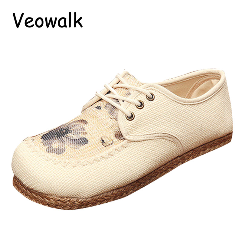 Beige Floral Embroidery Womens Casual Linen Cotton Loafers Lace up Vintage Ladies Walking Flat Shoes Hemp Bottom Sapato Feminino summer women shoes casual cutouts lace canvas shoes hollow floral breathable platform flat shoe sapato feminino lace sandals