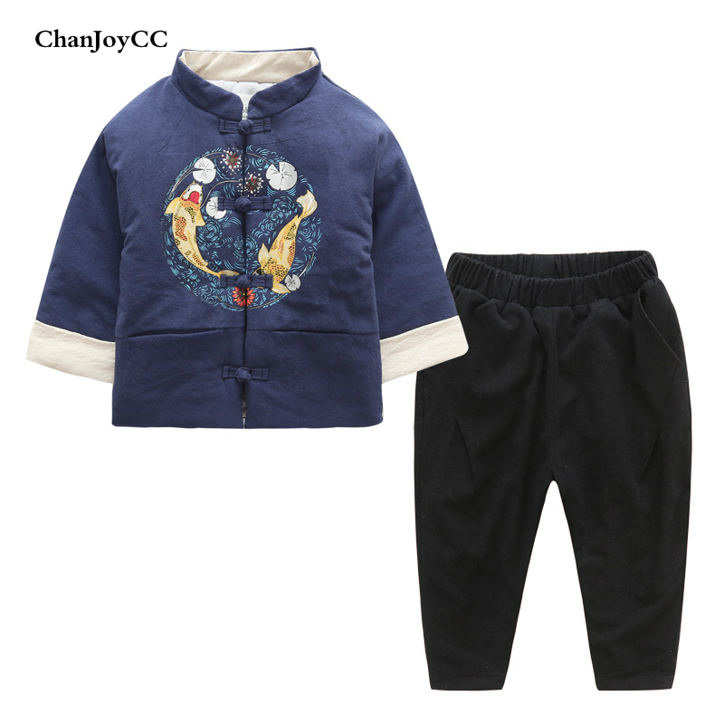 Winter Fashion Children Thickening Warm Set Kids Boys Girls Comfortable Suit Coat+Pant Two-piece Casual Kids Sport Tang Suits baby children s clothing boys and girls set sweater autumn winter warm new fashion gold velvet leisure sports two piece a8888