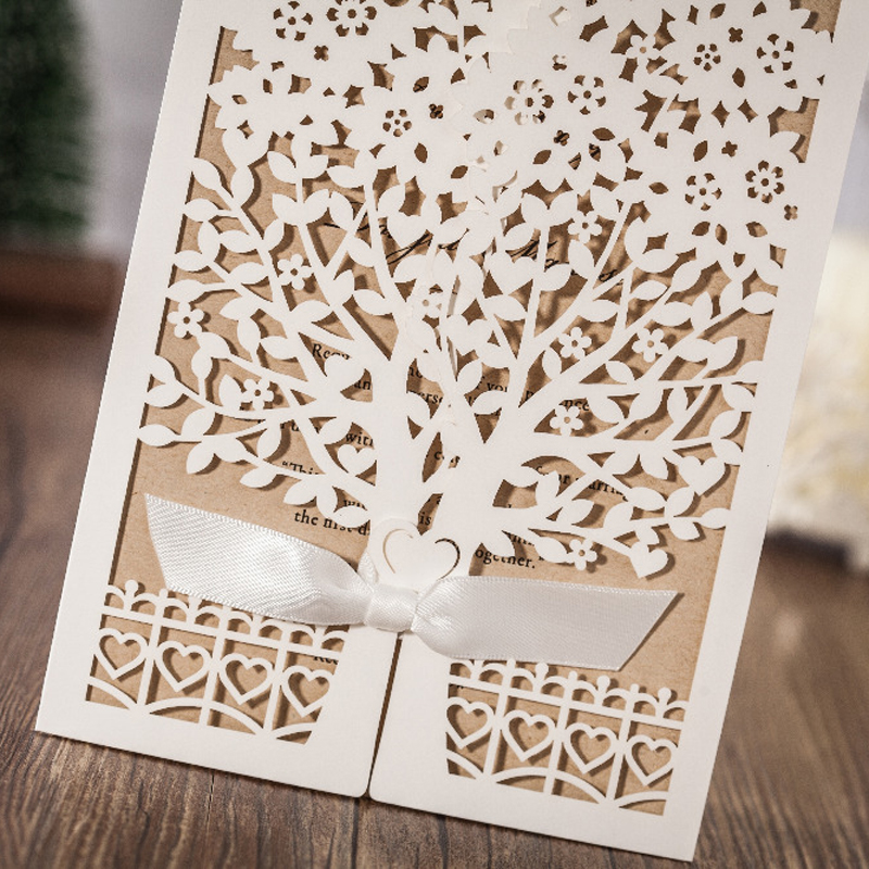 50 pieces/lot) Elegant White Wedding Invitations Tree Design Kraft ...