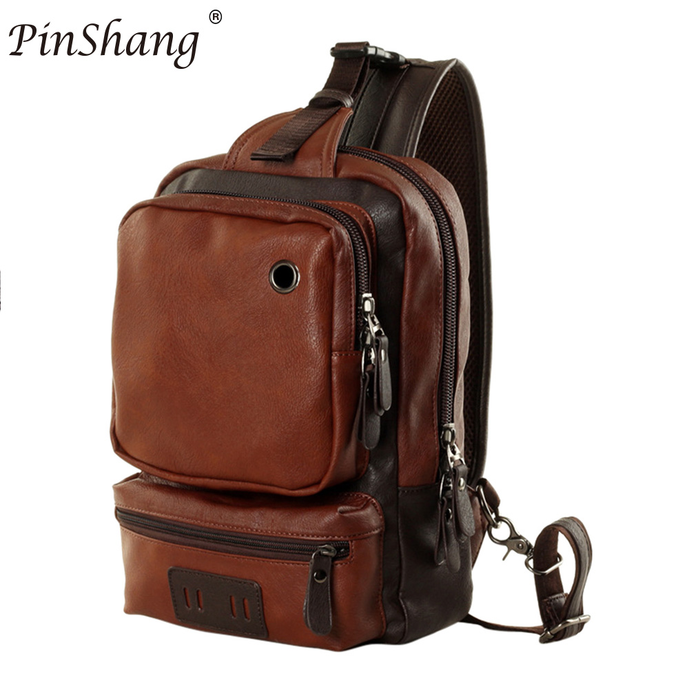 PinShang Casual Mens PU Leather Multi Pockets Sling Chest Pack Bag Large space Single Shoulder Back Day Pack Travel ZK30