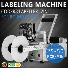 цена на LT-50D Automatic Round Bottle Labeling Machine with Coder Date Printing Labeler 220V/110V