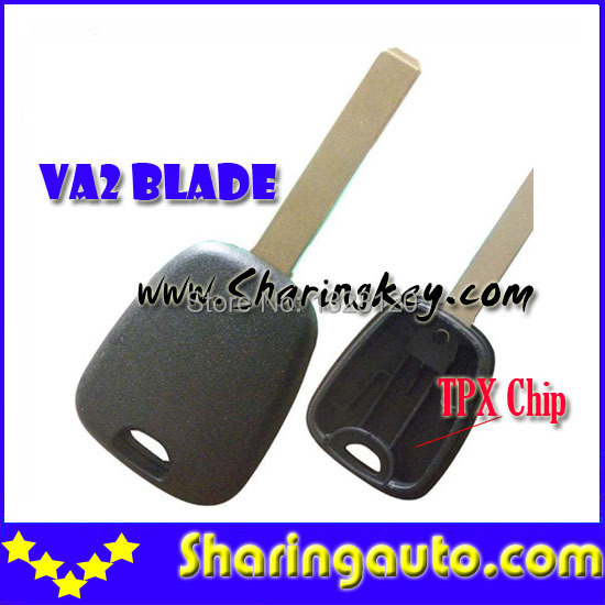 Free  shipping Transponder Key Blank With VA2 Blade Without Logo for Citroen 10 piece/lot