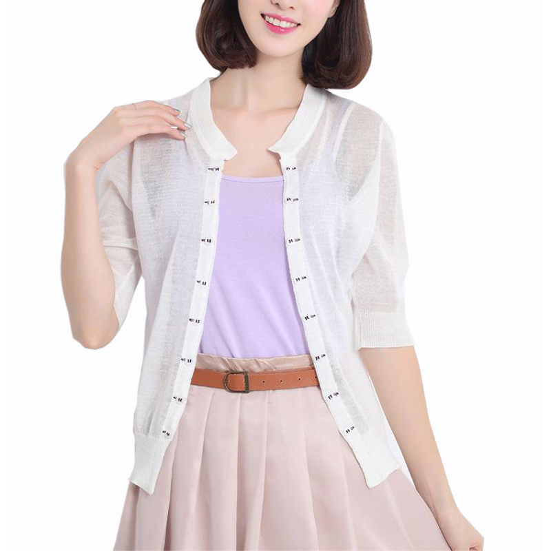 2016 Summer Casual Thin Short Sleeve Cardigan Female Knitted ...