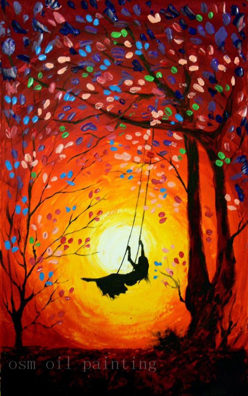 Top Handmade Modern Abstract Art Work The Girl Swings In