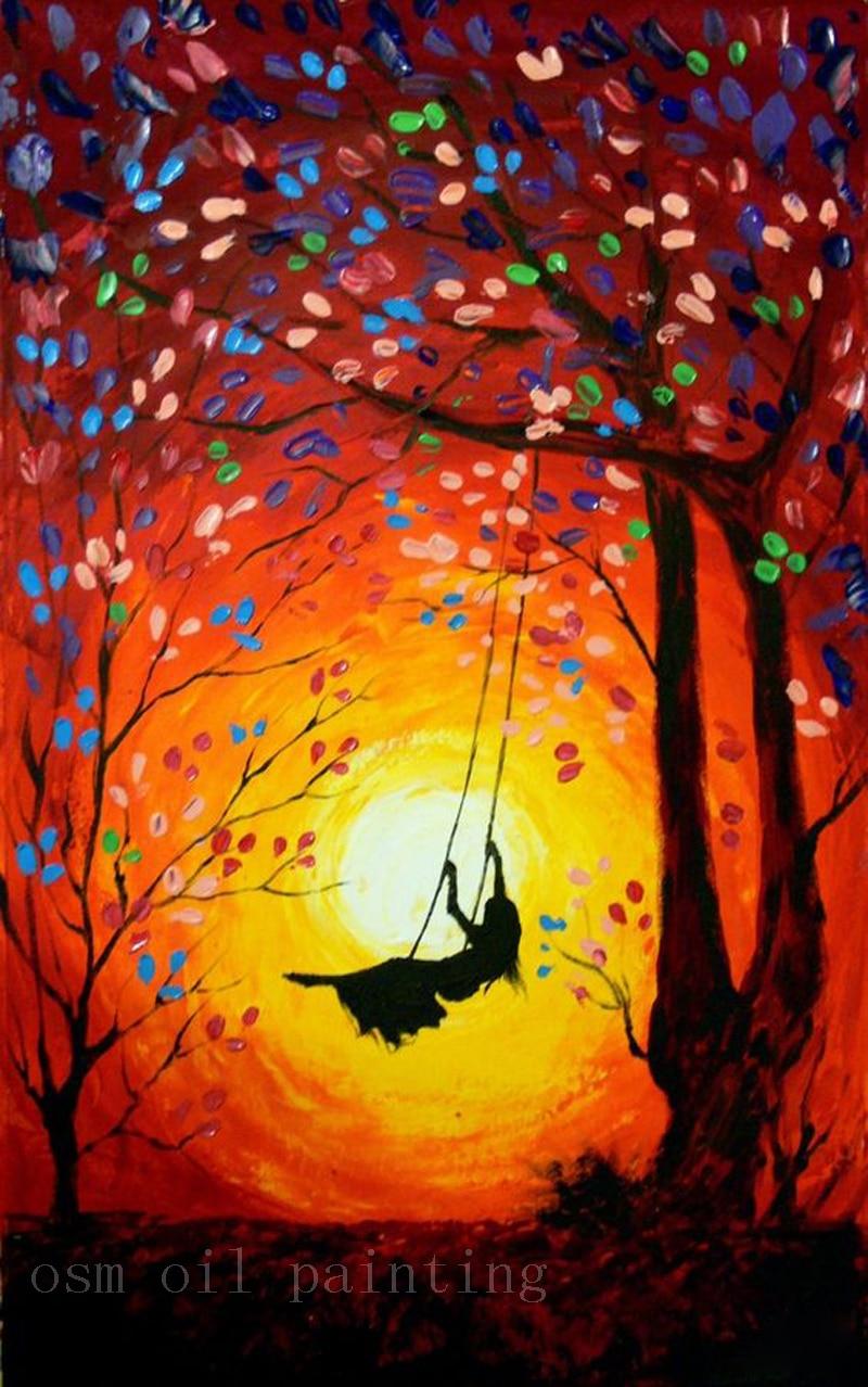 Top Handmade Modern Abstract Art Work The Girl Swings In