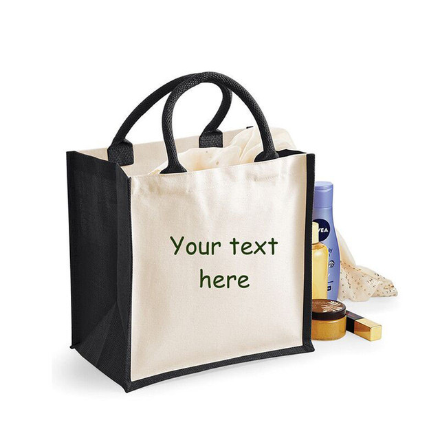 e27ad86ede wholesale 500pcs lot Tote Jute Hessian shopping bags reusable grocery Jute  tote shoulder bags customized printing logo for ads