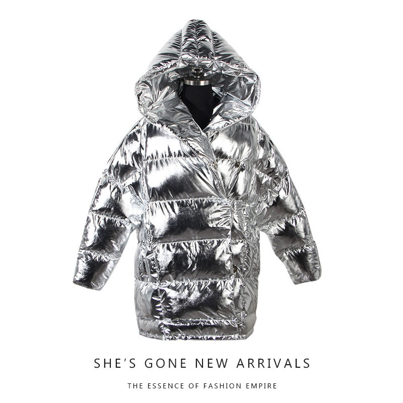 New Fashion Women's   Parkas   Metallic Black & Sliver Winter Jackets Hooded Collar Thick Cotton padded Coat Warm Outerwear Jacket