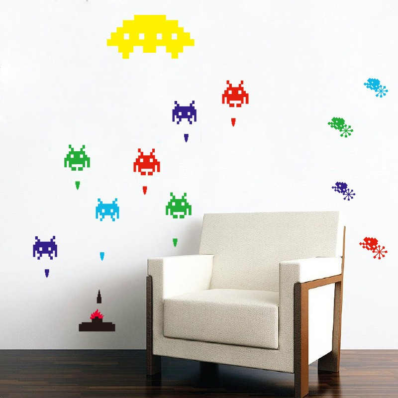 10pcs/Pack Space Invaders 80's Retro Children's Adult Wall Art Stickers Decals Home Decor Huge Sheet Etiqueta de la pared