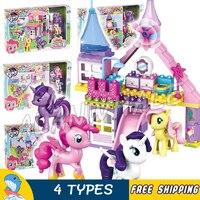4Types Horse Princess Castle Twilight Sparkle Rarity Fluttershy Pinkie Pie Model Building Blocks Toys Compatible With Lego Duplo