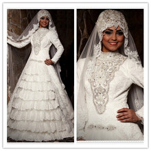 Exquisite Modern Crystal Beaded Lace High Neck Beading Long Sleeves Bridal hijab Dubai Muslim Wedding Dress Bridal Gowns(MUSL04)