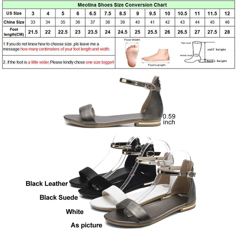 Meotina Genuine Leather Women Sandals Chunky Heels Summer Shoes 2019 Peep Toe Suede Shoes Black Buckle Bling Big Size 33-46 11