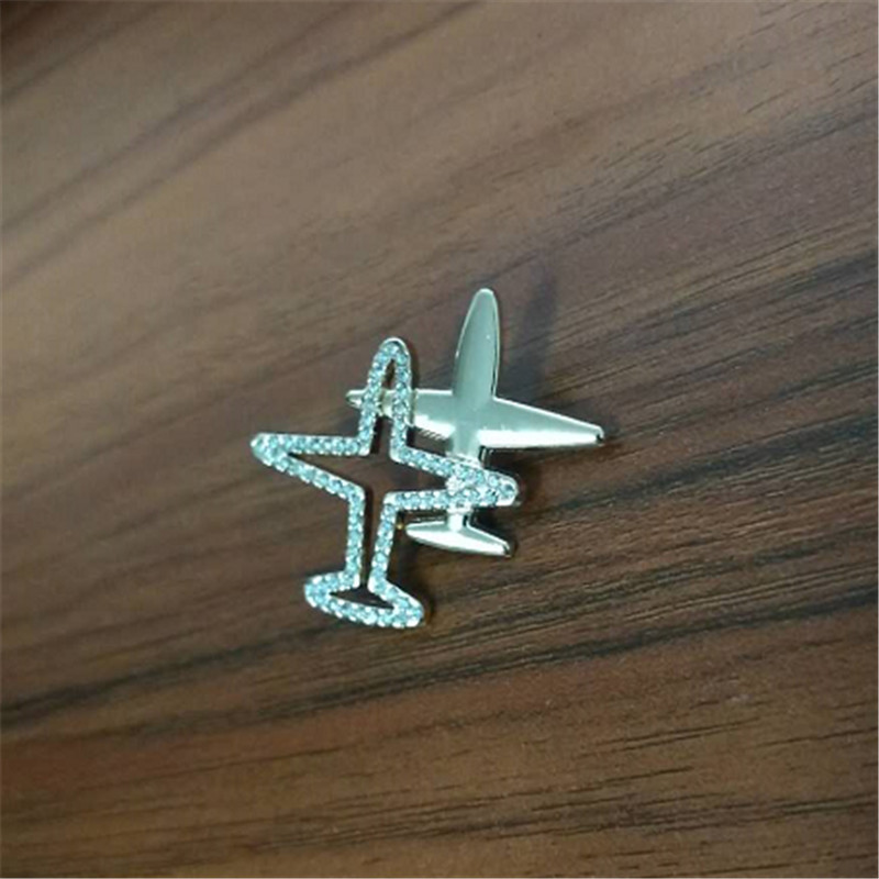 Fashion Stripe Aircraft Rhinestone Double Airplane Brooch Jewelry Enamel Pin Shirt Denim Collar Lapel Badges on a backpack Gifts image