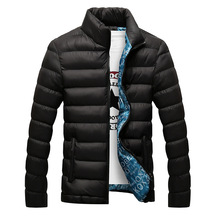 Kurtka zimowa mężczyźni 2019 nowy bawełny wyściełane grube kurtki Parka Slim Fit z długim rękawem pikowana odzież wierzchnia odzież ciepłe płaszcze tanie tanio HANQIU COTTON REGULAR Na co dzień Kieszenie NONE Stojak Stałe Poliester bawełna 0 65KG zipper winter jacket men Suknem