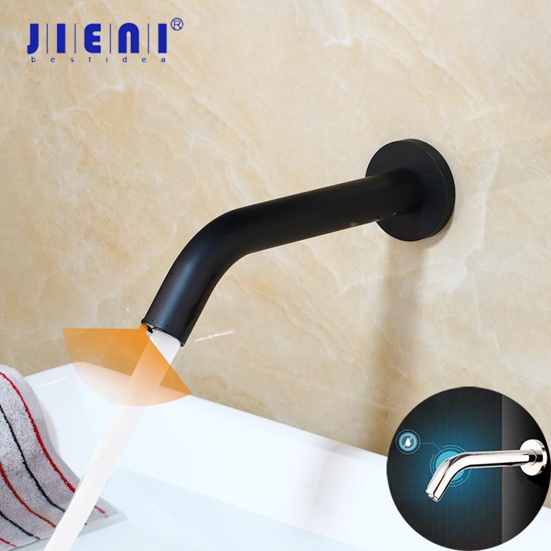 JIENI Black Chrome Lavatory Bathroom Faucet Wall Mount Sensor Faucet Automatic Hands Free Touch Sensor Bathroom