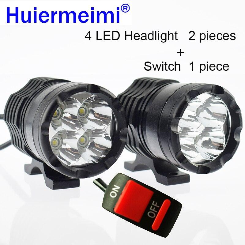 Huiermeimi Motorcycle Headlight 12V 40W 6000K Motorbike U2 LED Spotlight Moto Driving Working Head Light Spot Auxiliary Lamp DRL