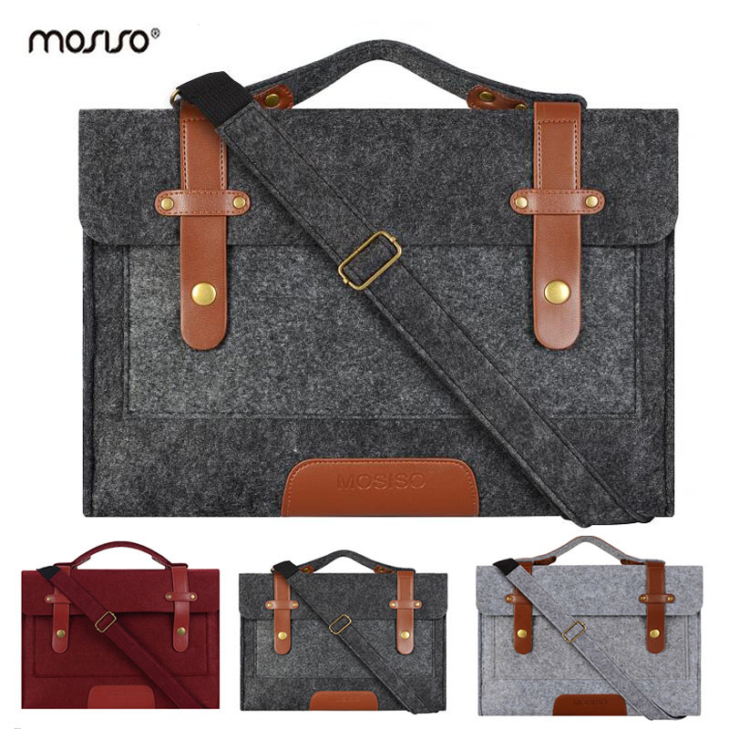 MOSISO 13 13.3 15 15.6 inch Vilt Laptoptas Case voor Macbook Mannen Handtas Aktetas Tassen Notebook Messenger Schoudertas
