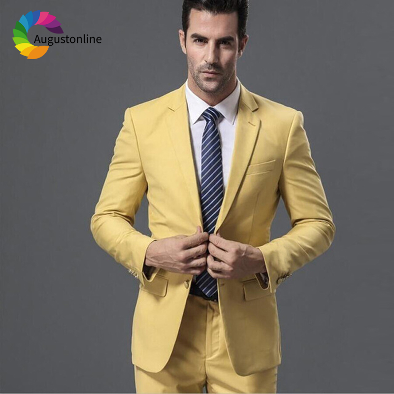 Yellow Wedding Men Suits Slim Fit Groom Tuxedos 2 Pieces (Jacket+Pants) Bridegroom Suits Best Man Blazer Costume Homme Prom Wear