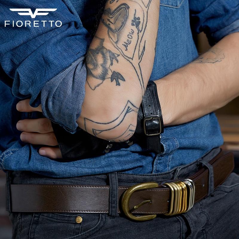 Fioretto Mens Retro Look Genuine Cowhide Leather Waist Belt With Bronze  Metal Buckles 8b06da7c07e0