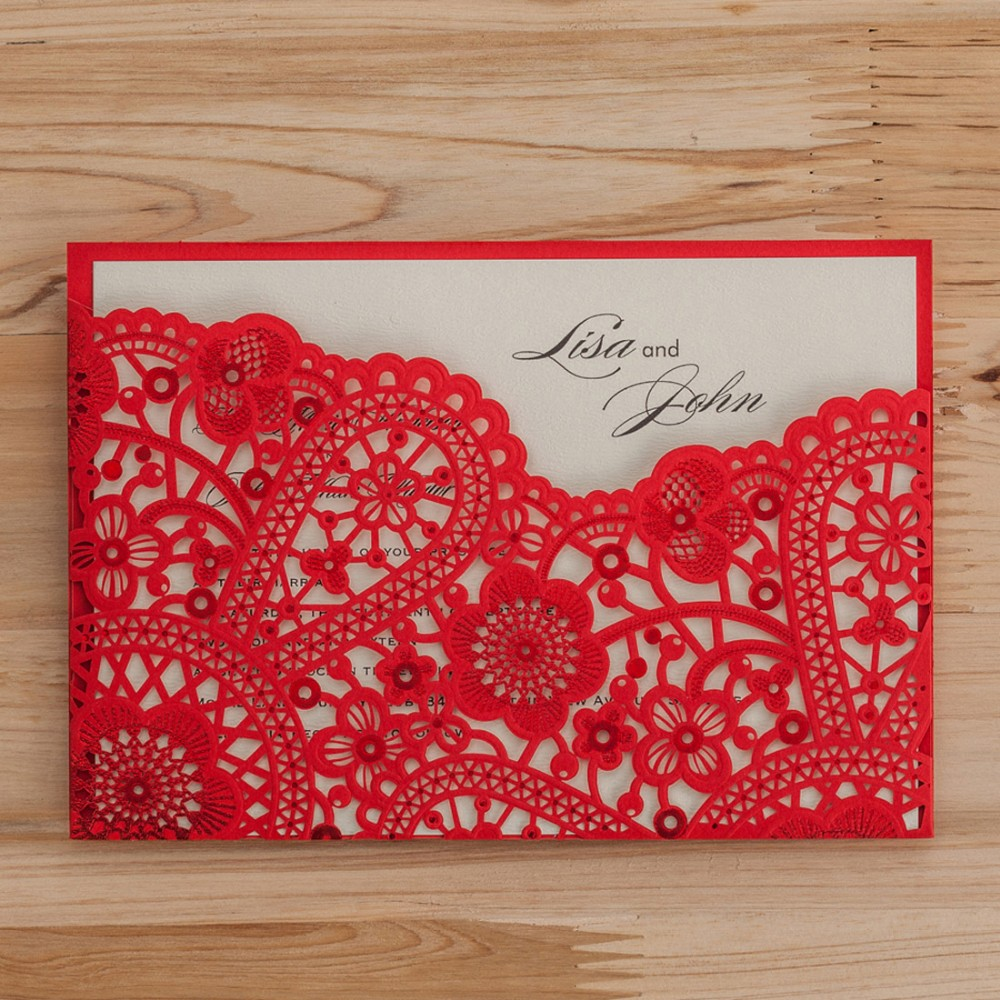 Laser Cut Wedding Invitations Cards Black Red Gold Flora Vintage Party Invitation Card Wedding ...