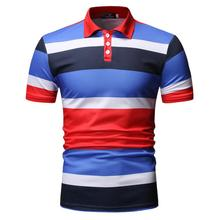Stripes Men Polo Shirt Short sleeve Business Social for Mens Clothing Collar Summer Tops Fashion Red Blue