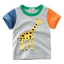 Summer Children Boy T-shirt Animal Print Short Sleeve Tee Shirts Kids Elephant Lions Giraffe Casual Tops Clothes