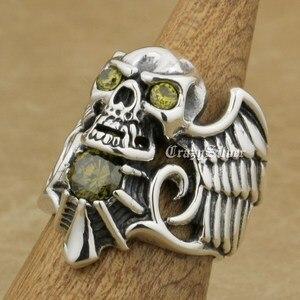 Image 4 - 925 Sterling Silver Devil Wing Skull CZ Eyes Mens Biker Rocker Punk Ring 9MX13 US Size 7~13