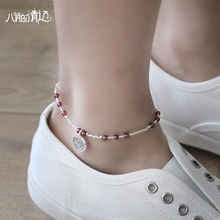 Silver wine red garnet Anklet 925 female silver lotus pendant retro minimalist Yinzhu lettering personality of students