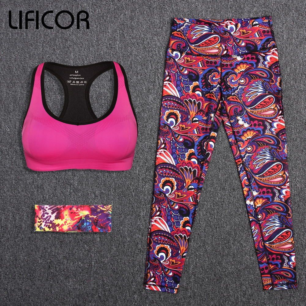 Women's Yoga Sets Sport Pants Yoga Leggings Elastic Tights Capri Running Gym Headband+Bra Top+Printed Pants 3Pcs/Set Sportswear