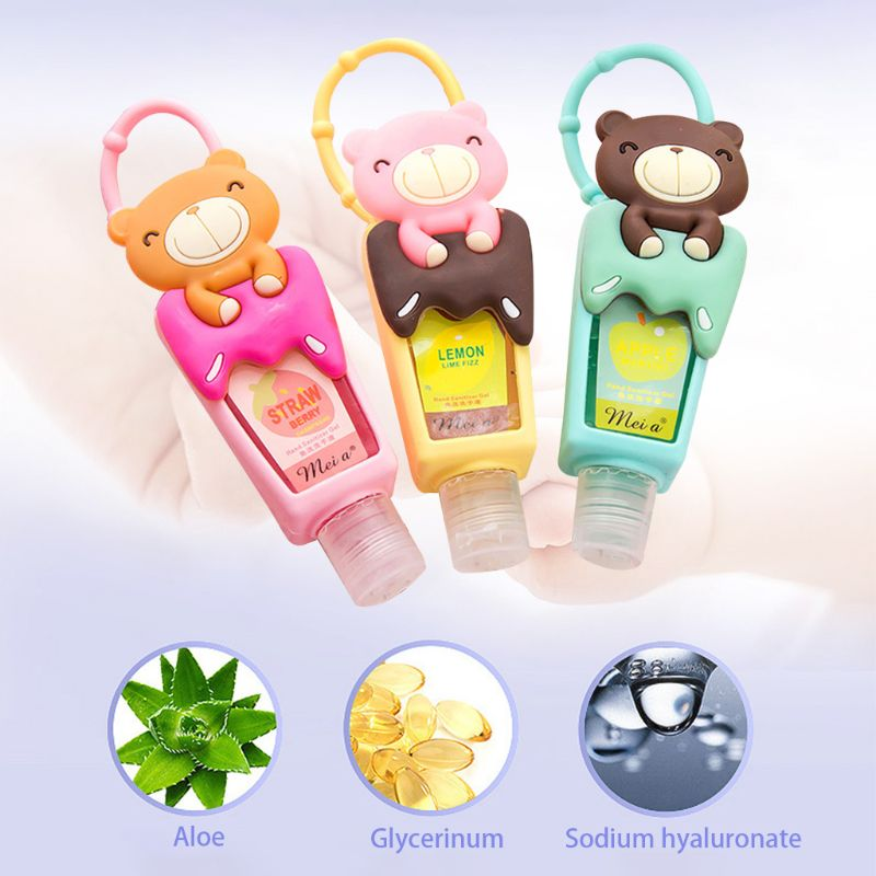 Cute Cartoon Teddy Bear Silicone Embossed Mini Hand Sanitizer Disposable No Clean Detachable Cover Travel Portable Hangable Fru