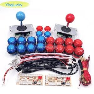 Kits de Joystick de Arcade DIY PARA 2 JUGADORES con 20 botones de Arcade LED + 2 copias de Joysticks SANWA + 2 Kit de codificador USB