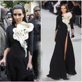 Paris Fashion Week Red Carpet Ruffles flower front black white tigh high split 3 4 long sleeves Kim Kardashian Celebrity Dress
