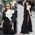 Paris Fashion Week Red Carpet Ruffles flower front black white tigh high split 3 4 long sleeves Kim Kardashian Celebrity Dress