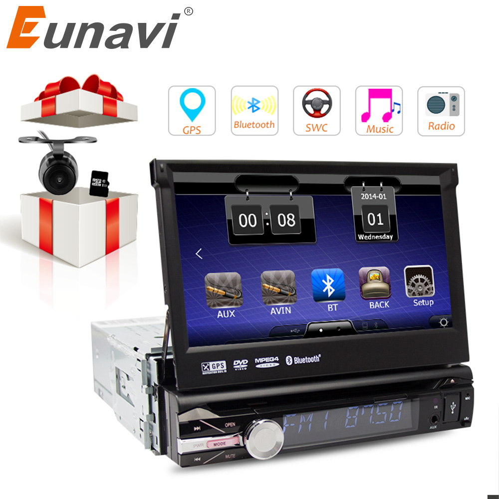 RU warehouse Eunavi 7 Universal Single 1 Din Car DVD Player GPS Navi Radio RDS Stereo Bluetooth Car PC Automotivo USB RDS Aux eunavi 7 2 din android 7 1 8 1 car dvd player radio multimedia gps navi for toyota rav 4 rav4 audio stereo 2din rds wifi usb