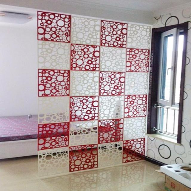 Captivant 8 Pièces Chambre Diviseur Paravents Espace Partition Panneaux Mur Haning  Évider Noir Et Rouge
