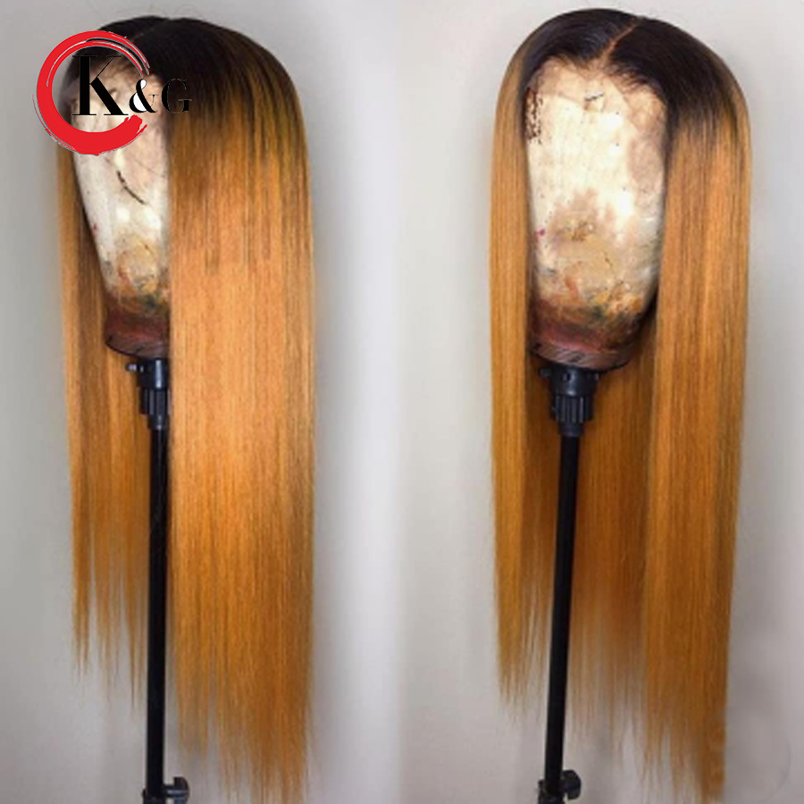 KunGang Ombre Color Lace Front Human Hair Wigs 1B 27 Straight Brazilian Remy Human Hair Wig