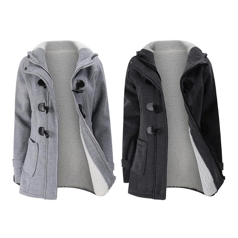 Winter Frauen Mantel Warme Mit Kapuze Jacke Lange Abschnitt Wolle Gemischt Outwear Mit Leder Ox Horn Form Schnalle Mantel